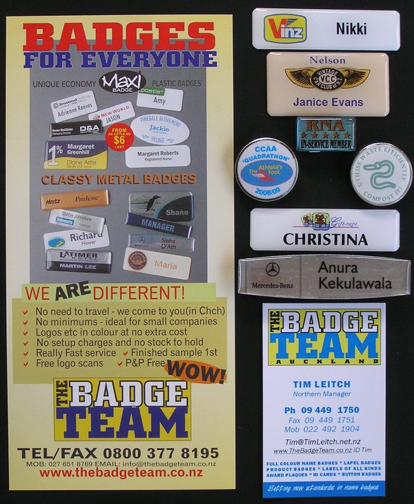 The Badge Team, Tim Leitch, promo & Name Badge & Lapel Badge, Club Badge examples