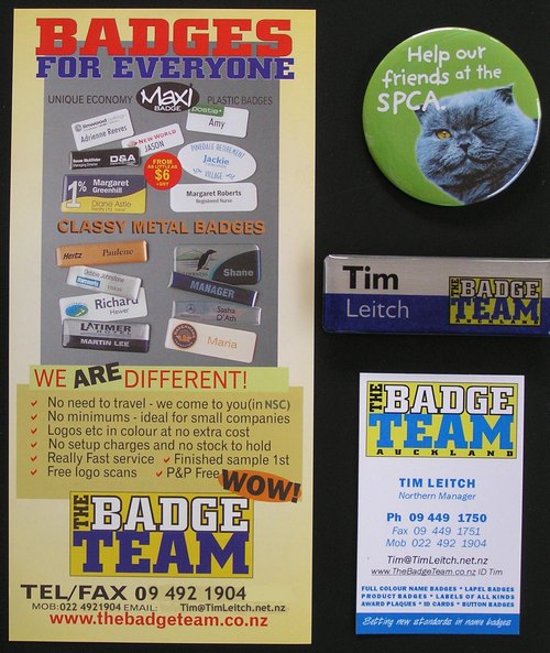 The Badge Team, Tim Leitch, promo & Name Badge & Button Badge examples