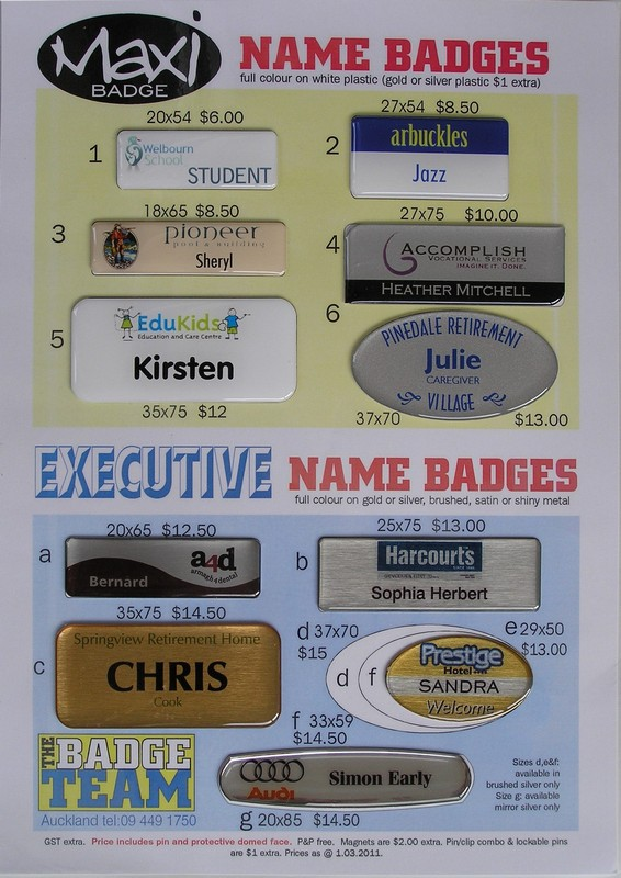 The Badge Team, Tim Leitch, Maxi & Exec Name Badge examples