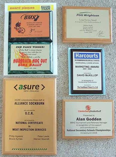 The Badge Team - Award Plaque examples